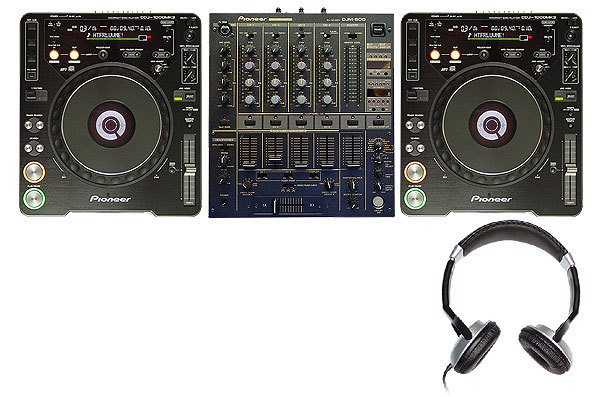 CD decks, mixer and headphones