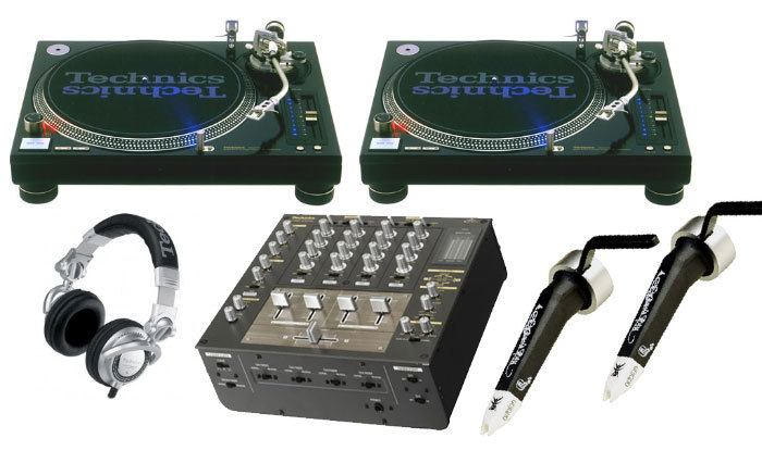 Turntables, DJ mixer, headphones and cartridges
