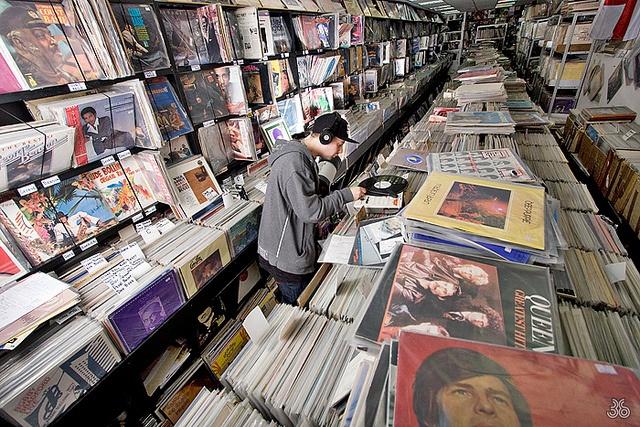A vinyl record store