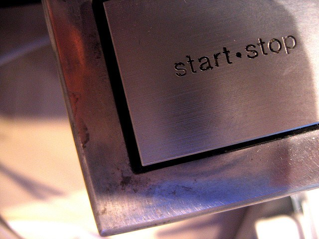 The Start/Stop button on a Technics turntable
